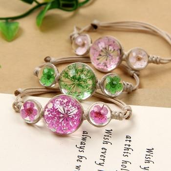 Dried flowers woven bracelet