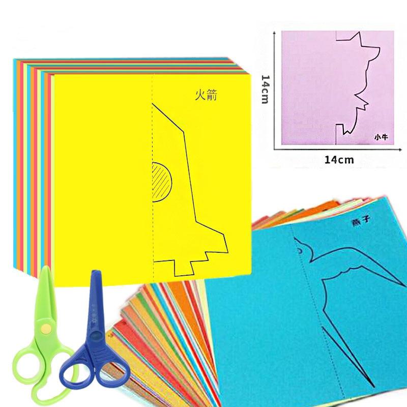 40pcs Craft Kids Cartoon Color Paper Folding Cutting Kinderen Art DIY Educational Toys For Children