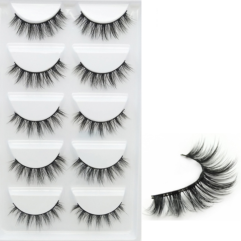 YOKPN Short Cross 3D False Eyelashes Natural Soft Black Mink Hair Eye Lashes Makeup Tools Women Fake Eyelashes 5 Pair