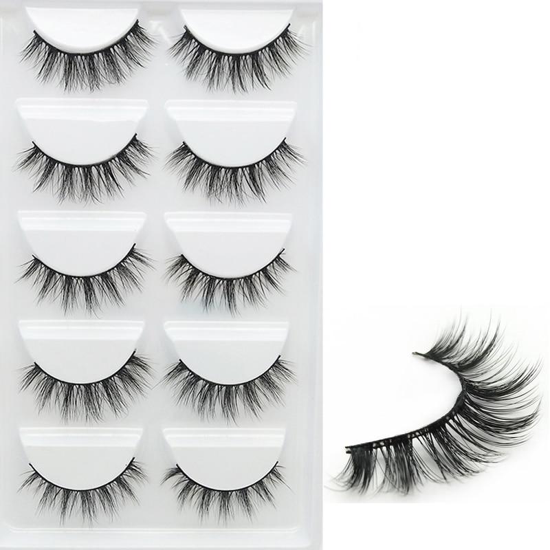 YOKPN Short Cross 3D False Eyelashes Natural Soft Black Mink Hair Eye Lashes Makeup Tools Women Fake Eyelashes 5 Pair