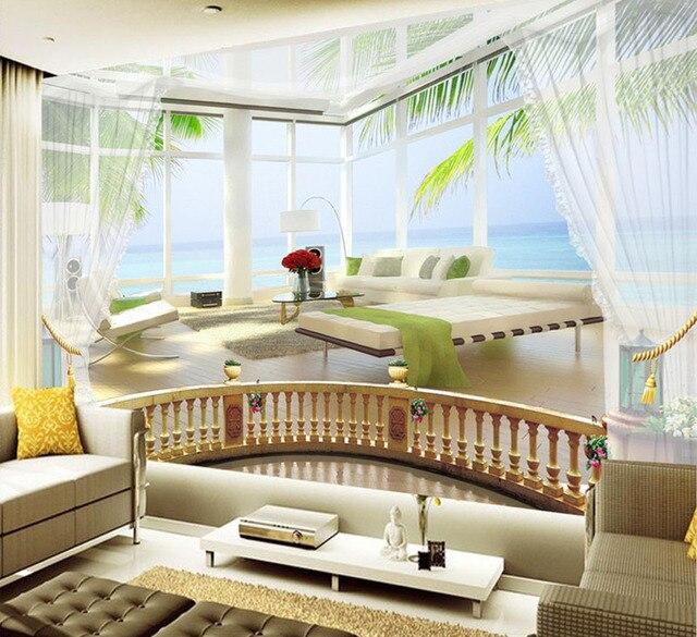 personnalis moderne photo 3d vue sur l 39 oc an balcon fond d 39 cran 3d tv fond d 39 cran abstrait. Black Bedroom Furniture Sets. Home Design Ideas