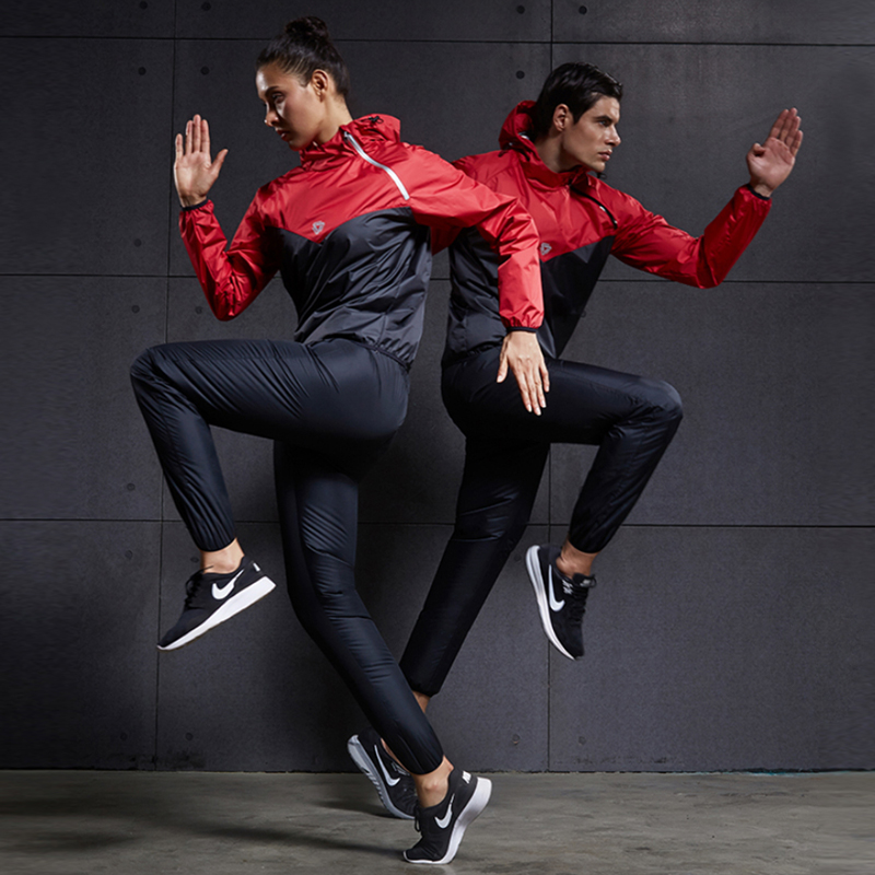 Heat Sweat Running Sets Women Men Sports Suits Polyester Two Piece Gym Tracksuit Fitness Yoga Training
