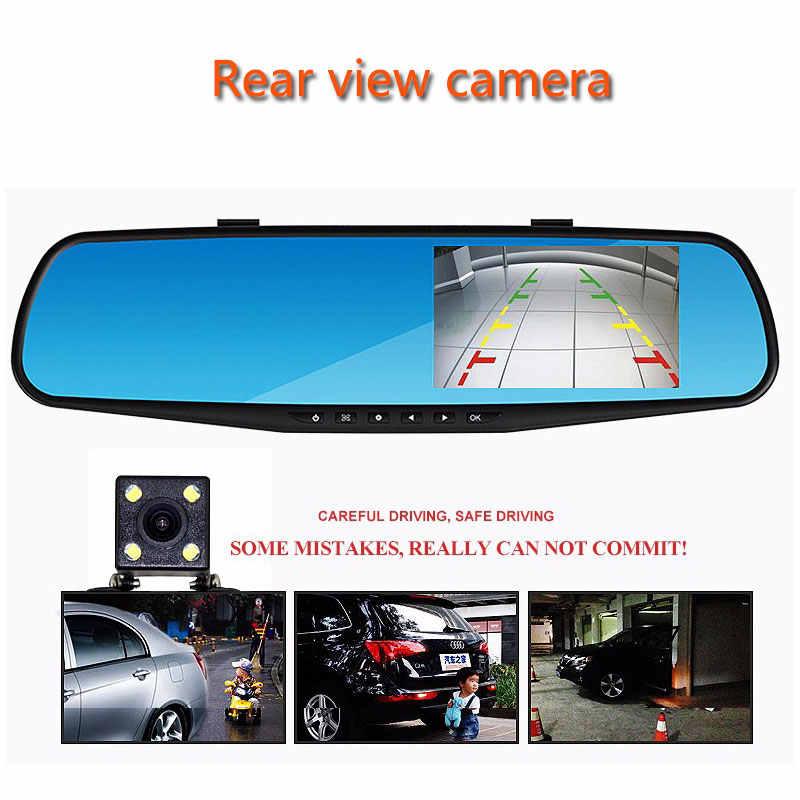 "Jiluxing H03S 4.3 ""FHD 1080 P جهاز تسجيل فيديو رقمي للسيارات عدسة مزدوجة سيارة مرآة الرؤية الخلفية للكاميرا مسجل فيديو داش كاميرا السيارات للرؤية الليلية"