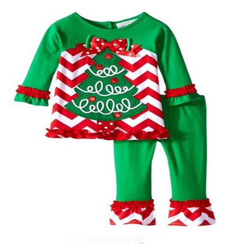New Santa Suit Girls Christmas Long Sleeve T-shirt + Pants 2pcs Fashion Infant Xmas Pajamas Set Kids Suits Z236