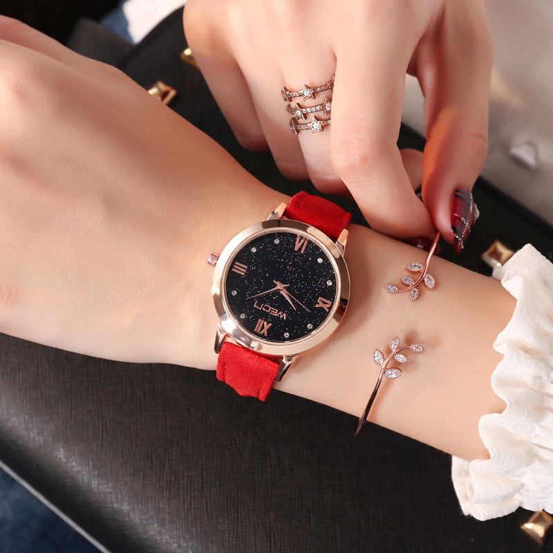 Star Dial Wrist Lady Fashion <font><b>Watch</b></font> Casaul Clock Ladies Retro Design Black <font><b>Big</b></font> Dial Quartz Wrist <font><b>Watches</b></font> <font><b>Unisex</b></font> Clock Bracelet 5N image