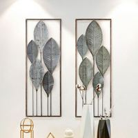 Leaf Iron Cage Wall Hanging Mural Home Crafts Decor 3D Stereo Creative Office House Background Wall Sticker Decoration R1206