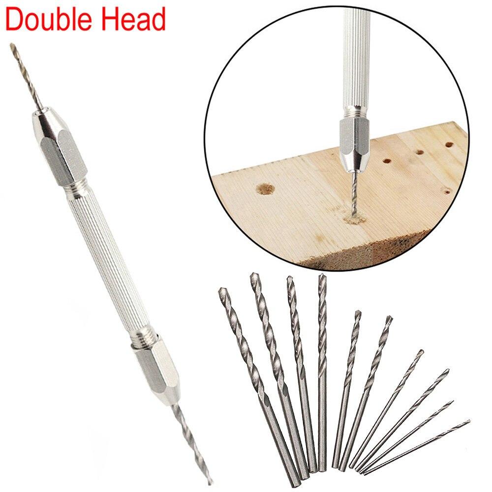 Double Head Micro Aluminum Hand Drill Keyless Chuck +10pc Twist Drill Bit Rotary New <font><b>Sheds</b></font> & Storage