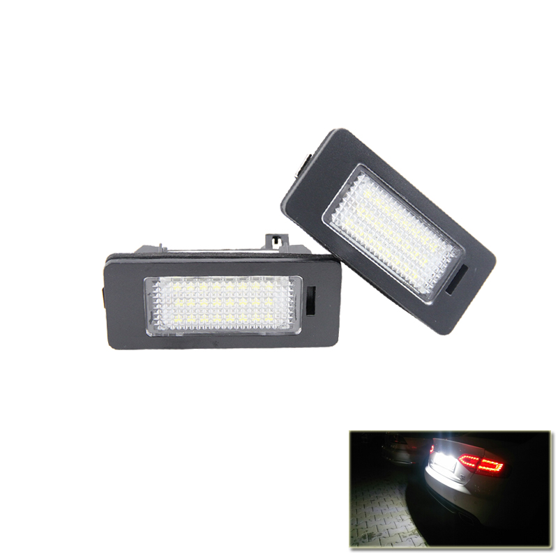 Canbus Error Free Led License Number Plate Lights Replacement Lamp For Skoda Octavia Combi 5E A7 Superb B6 Yeti Fabia MK3 Rapid 2 pairs canbus no error auto led license plate lamp car number lights for chevrolet canbus cruze all cars 09
