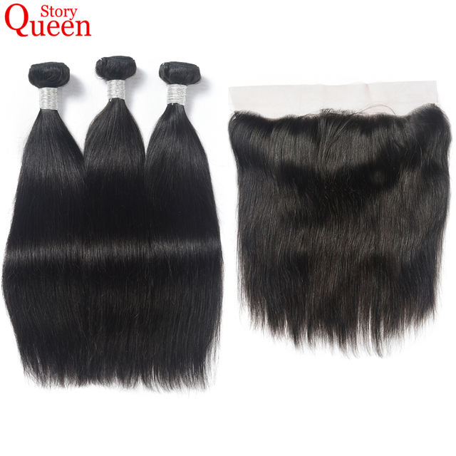 Buy 3 Get 1 Gift Queen Story Hair Human Hair With Lace Frontal 3 Bundles Brazilian Straight Hair Natural Color Remy Hair Weave