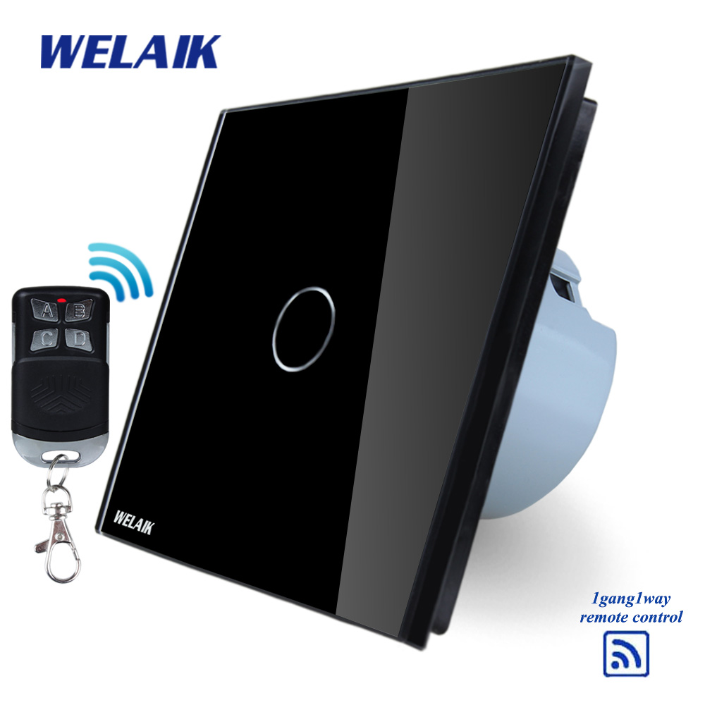 WELAIK Glass Panel Switch black Wall Switch EU remote control Touch Switch  Light Switch 1gang1way AC110~250V A1913CBR01 makegood eu standard smart remote control touch switch 2 gang 1 way crystal glass panel wall switches ac 110 250v 1000w
