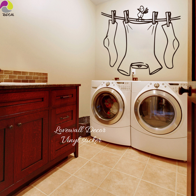 laundry room sign wall sticker cute clothes line with bird wall