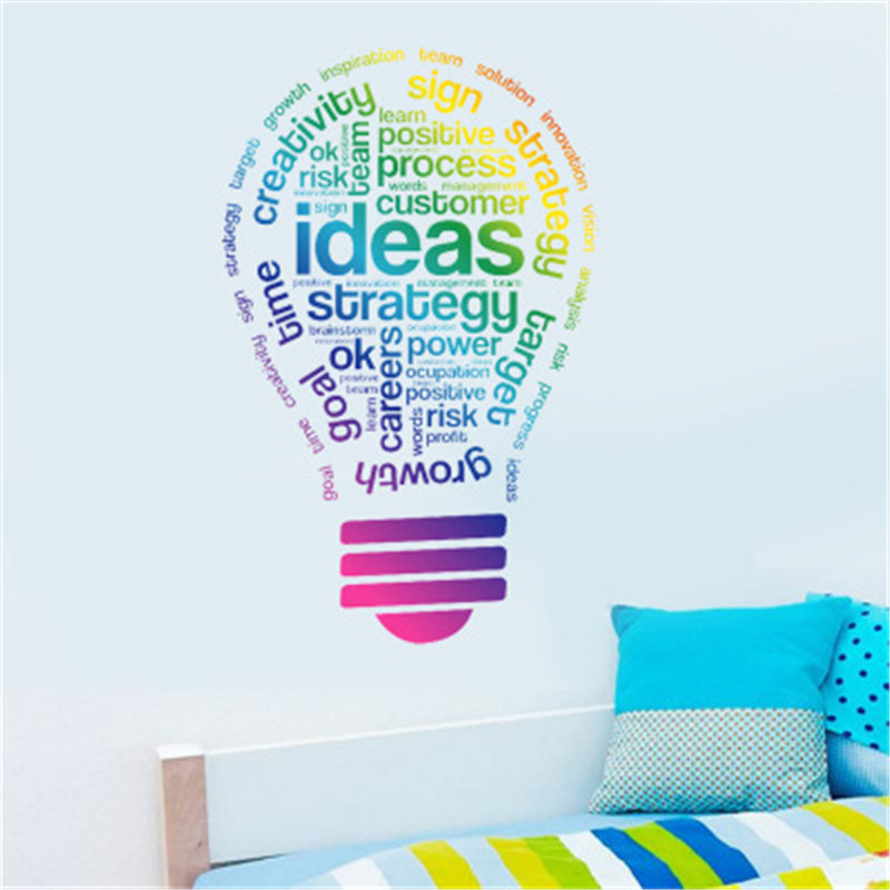 Idea Bulb Words Motivation Quote Wall Decal Art Sticker Vinyl Inspirational Quote Wall Sticker Company Office Stickers Decor