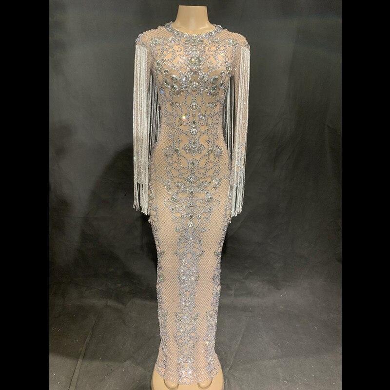 Offre spéciale Sexy maille Perspective brillant cristaux longue robe soirée strass anniversaire célébrer Costume franges robes