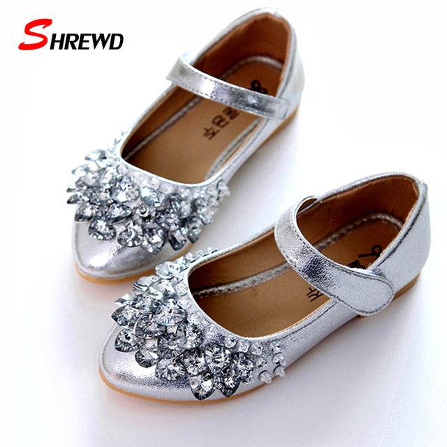 Astuto Marca Meninas Sapatos 2017 Primavera Strass Moda Festa Princesa Crianças Sapatos Crianças Sapatos Casuais 9073 W