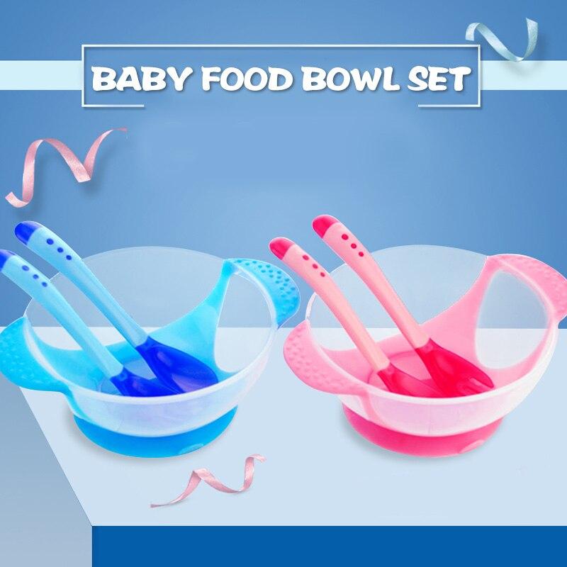 Assist миски для корма, тренировочные блюда и чашка, детская посуда, ложка, 3 шт., розовая/желтая/синяя PP, чаша для риса, Noddle, прочная