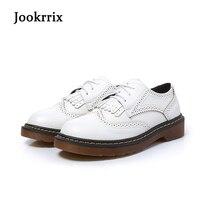 Jookrrix Nueva Primavera Otoño Retro Blanco Zapato Bullock Zapatos Borla de la Señora de Las Mujeres Negro Lace Up Ocio Pisos Estilo Británico Color