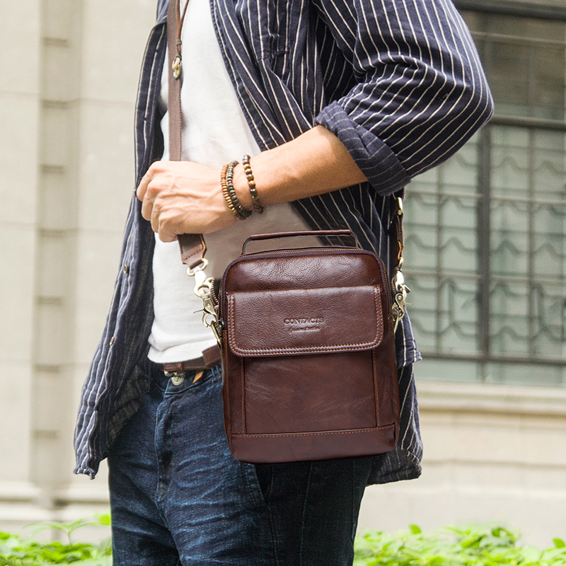 CONTACT'S Genuine Leather Shoulder Bags Fashion Men Messenger Bag Small ipad Male Tote Vintage New Crossbody Bags Men's Handbags 5