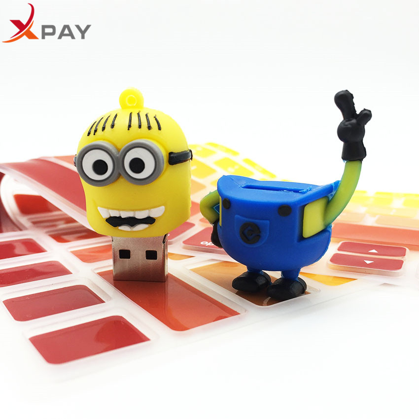 Image 2 - Usb Flash Drive Cute Cartoon Little Yellow Man USB 2.0 Pendrive 32GB Pen Drive 4GB 8GB 16GB 64GB Usb Stick 128GB Free Shipping-in USB Flash Drives from Computer & Office