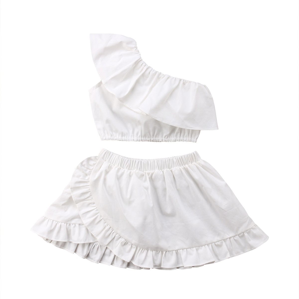 2pcs Newest Baby Girl Clothes Set White Newborn Kids Girls Off Shoulder Crop Tops Skirt Outfits Cotton Children Clothing 0-24M