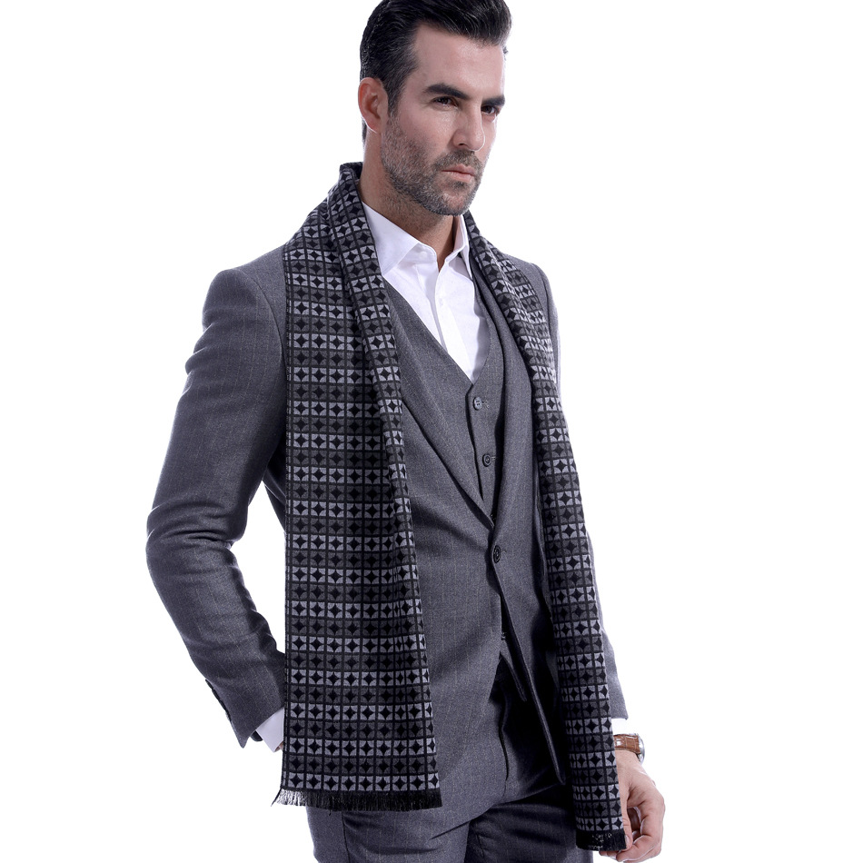 New Chequered Mens Scarf Cashmere Circle Dads