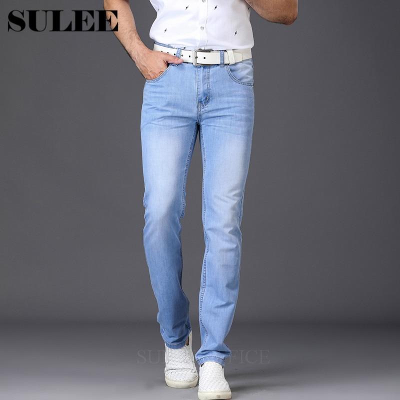 2018 Для мужчин джинсы утр легкий тонкий модные брендовые джинсы Большие продажи сезон: весна–лето джинсы мода Зауженные джинсы Для мужчин брюки