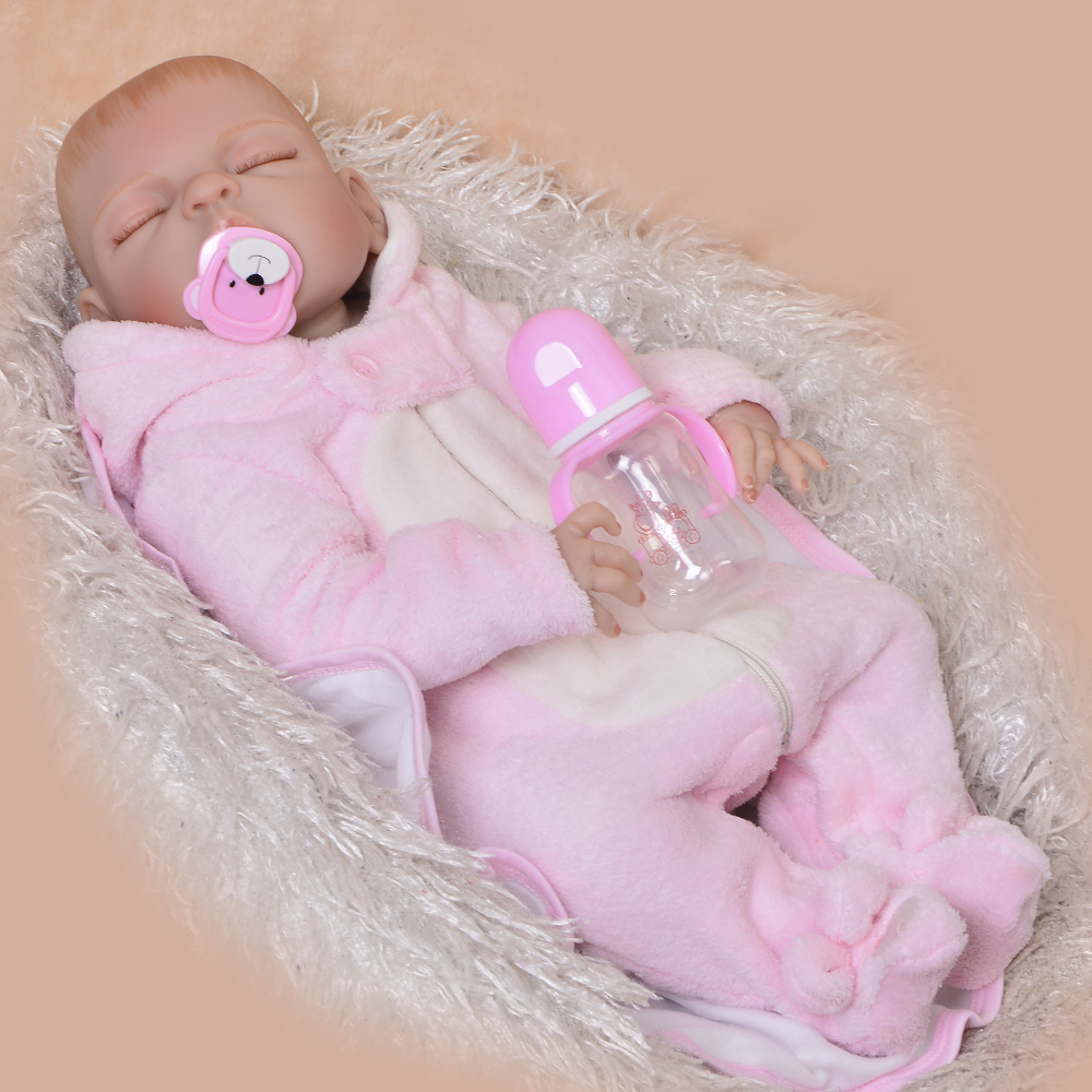 57 cm Full Silicone Vinyl Boneca Reborn Real Like Sleeping Reborn Baby Girl Doll No Hair 23'' Newborn Doll Children's Gifts real like 57 cm sleeping boneca reborn lifelike full body silicone vinyl reborn dolls babies princess baby doll toy for gifts