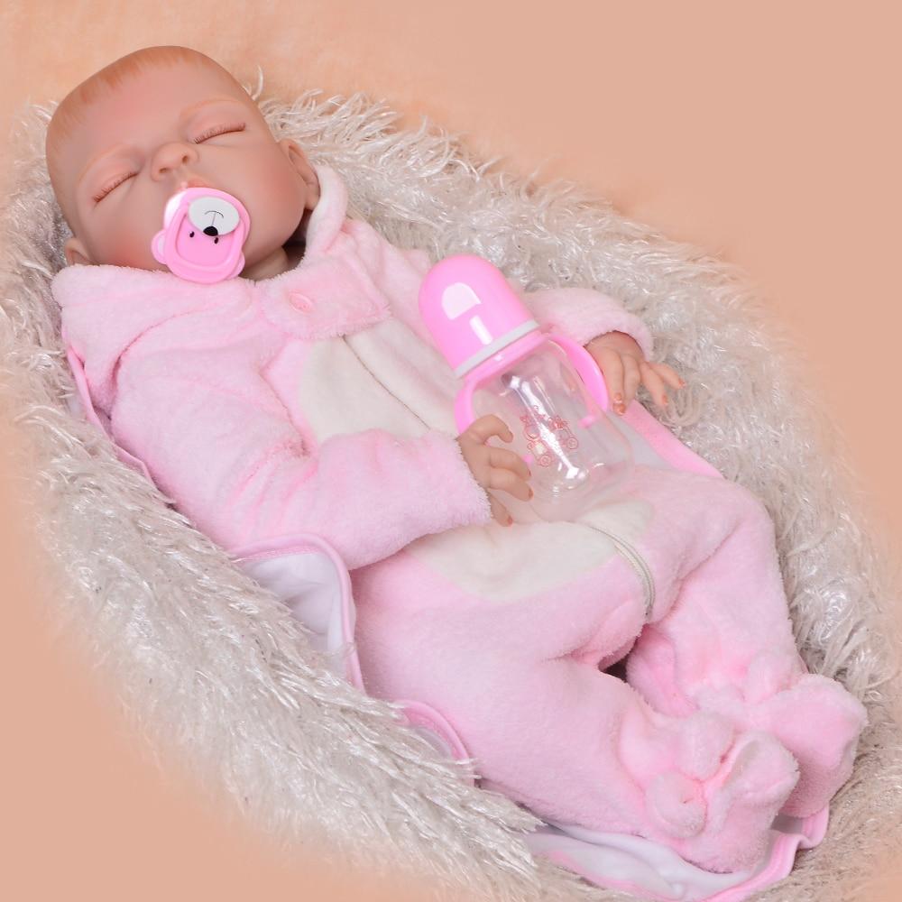 57 cm pleine Silicone vinyle Boneca Reborn réel comme dormir Reborn bébé fille poupée sans cheveux 23 ''nouveau-né poupée cadeaux pour enfants
