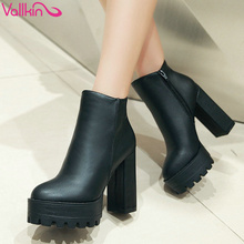 VALLKIN European Style Sexy Round Toe Ankle Boots Comfortable Boots High Heels Women Boots Size 34-39