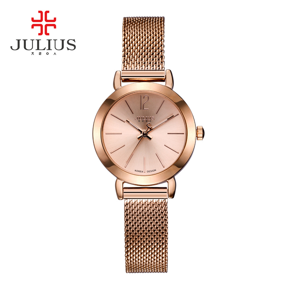 New Casual Women Quartz Watch Julius 732 Fashion Rose Gold Watches Brand For Women Stainless Steel Net Band relogio feminino