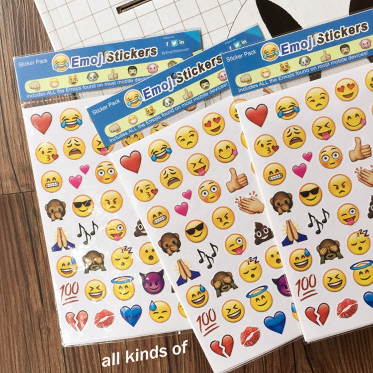 Four PCS/Set Emoji Face for Iphone Stickers Diary Hand Notes Smile Decoration EMOJI Expression Affixed Four Loaded free ship