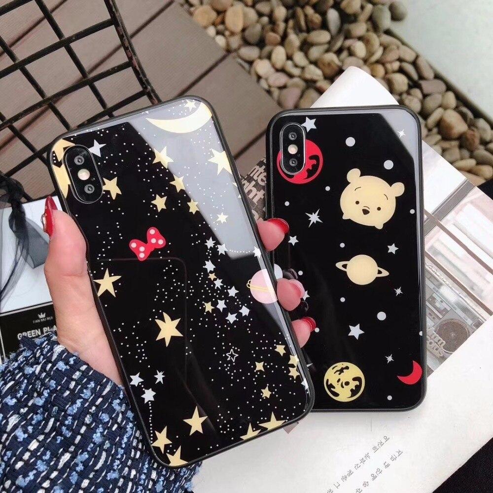 maosenguoji Tempered glass case star planet Bear head Mobile Phone Case for iphone6 6s 6plus 7 7plus 8plus X fashion Couple case
