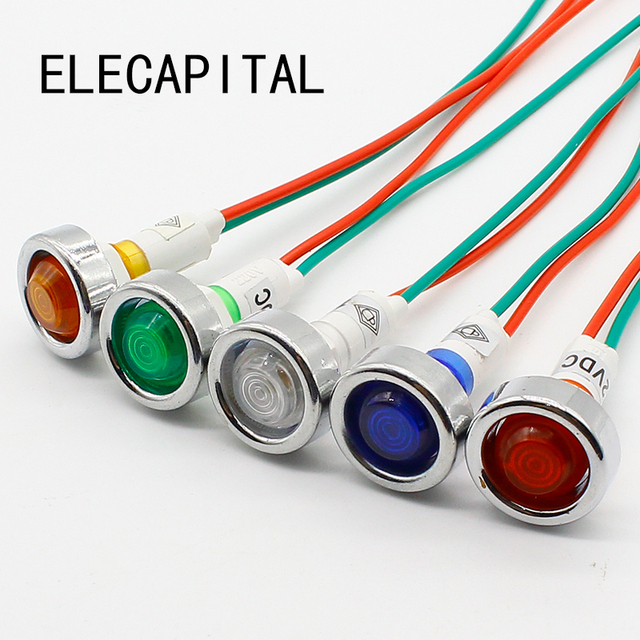 Astonishing 10Pcs 10Mm 12V Led Indicator Light With 18Cm Wire Sigal Lamp In Wiring Digital Resources Funapmognl