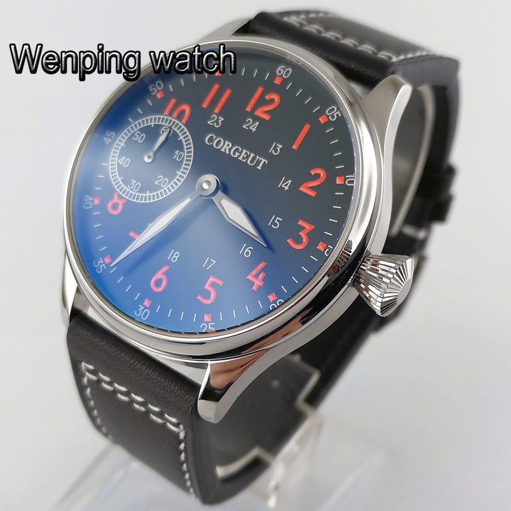 44mm CORGEUT mans luxury watches black dial PVD case leather strap 6497 hand winding movement waterproof mens watch gift