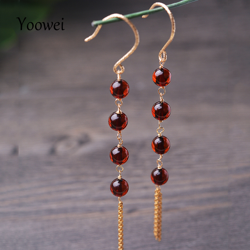 все цены на Yoowei 5mm Natural Amber Earrings for Girl Round Beads Chic Simple Long Tassel Dangling Earrings Baltic Amber Jewelry Wholesale