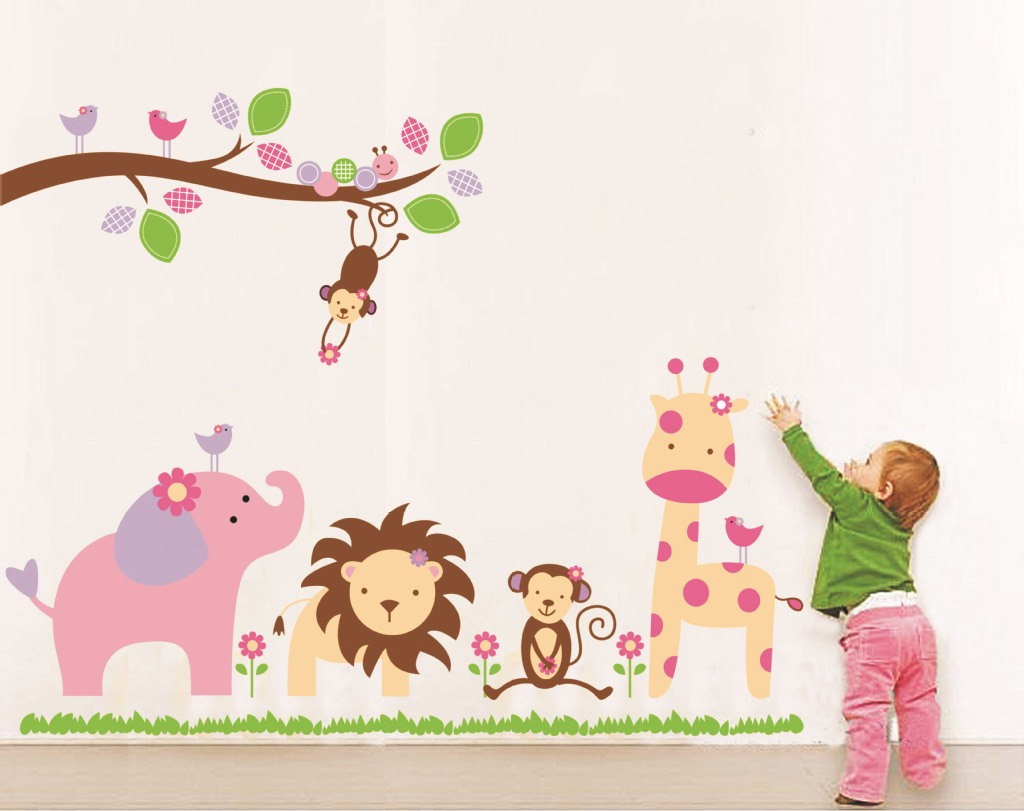 DIY Cartoon Zvířecí samolepka Strom Samolepky Retro Vintage Plakát Fototapety pro děti Baby pokoje dekorace Domácí nálepky na zeď