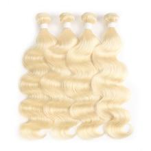 613 Мёд светлые волосы пучков тела волны бразильский пучки волос плетение соку 8-26 Inch-Волосы remy расширения 1 шт