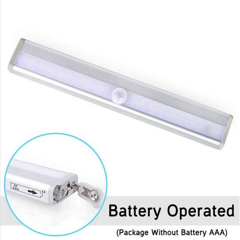 10LED Automatic Night Light Wireless Motion Sensor Cupboard Light Battery  Operated LED Strip Light White Free Shipping-in LED Bulbs & Tubes from  Lights ...