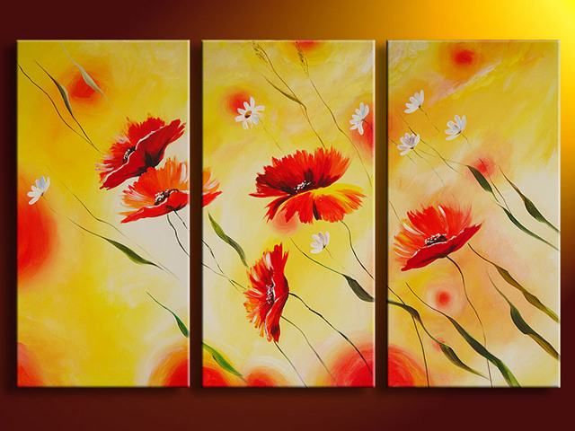 Framed 3 Panel Large Poppy Painting 3 Panel Wall Art Interior ...