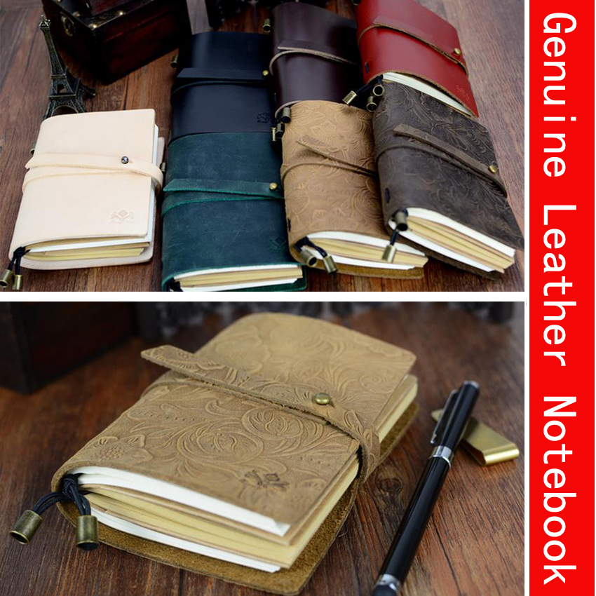 130mm*100mm Newest Genuine Leather Sketchbook Bullet journal Notebook paper Weekly Planner Accessories Stationery Diary 01661 все цены