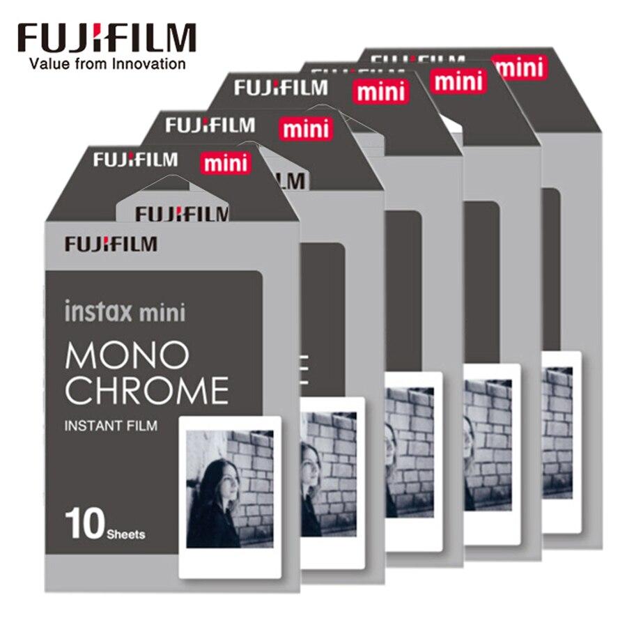 10-50 folhas fujifilm fuji instax mini 8 9 filmes monocromáticos preto e branco para o papel fotográfico instantâneo da câmera 8 9 7s 25