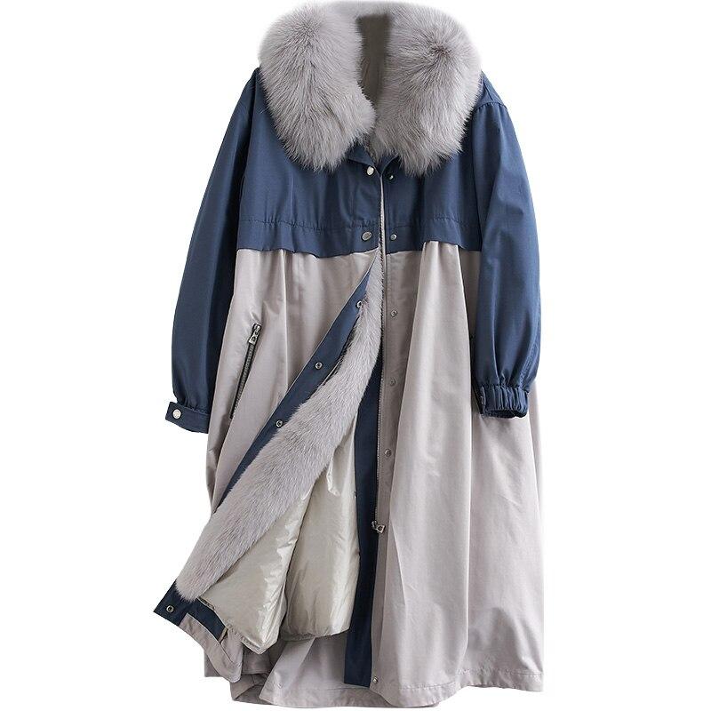 Large Fur Collar Detachable   Down   Liner Fur Parka Winter White Duck   Down     Coat   Female Parka 2019 New Womens Natural Fox Fur Jacket