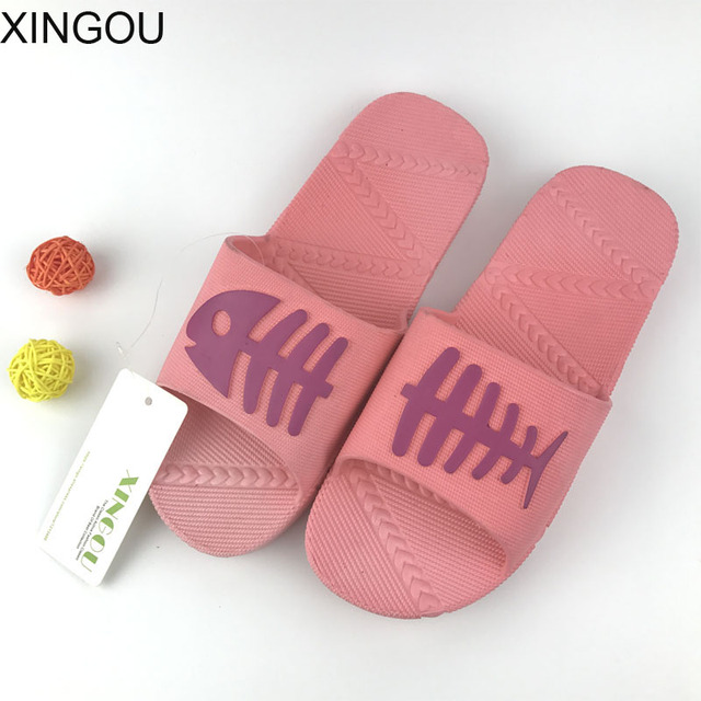 Fishbone women bathroom sandals summer home slipper slip bath slippers soft  bottom plastic slides female indoor