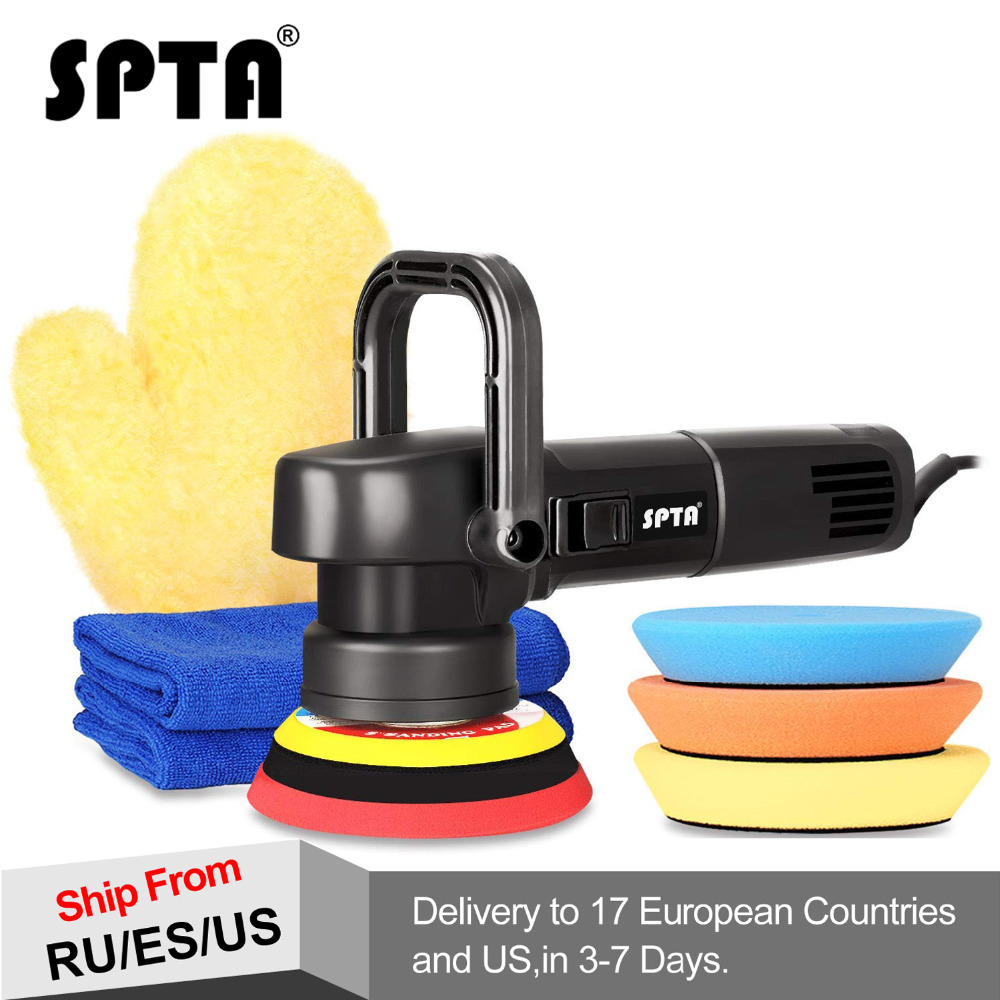 SPTA 5Inch 125mm 8mm Dual action polisher DA Polisher Car Polisher & Polishing Pads Microfiber Towel Glove Set For Auto Polish spta red
