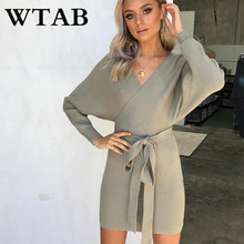 bd03e1e0bdfe WTAB novo 2018 engrossar quente de outono/inverno vestido de malha de manga  comprida vestido com decote em v camisola das mulher.