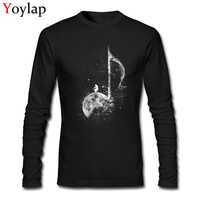 Original Design Miles On The Moon Men T Shirt Music Note Printed Art Design Tee Top