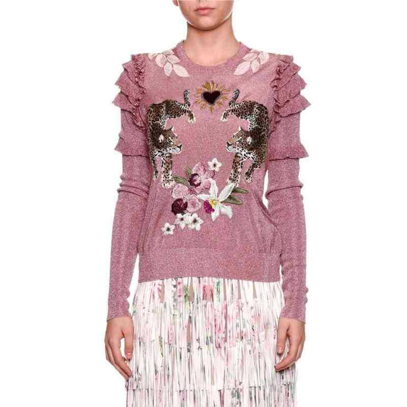 2019 hiver noël Animal broderie rose chandails tricotés pulls femmes conception de piste à volants vêtements élégants dame vêtements - 3