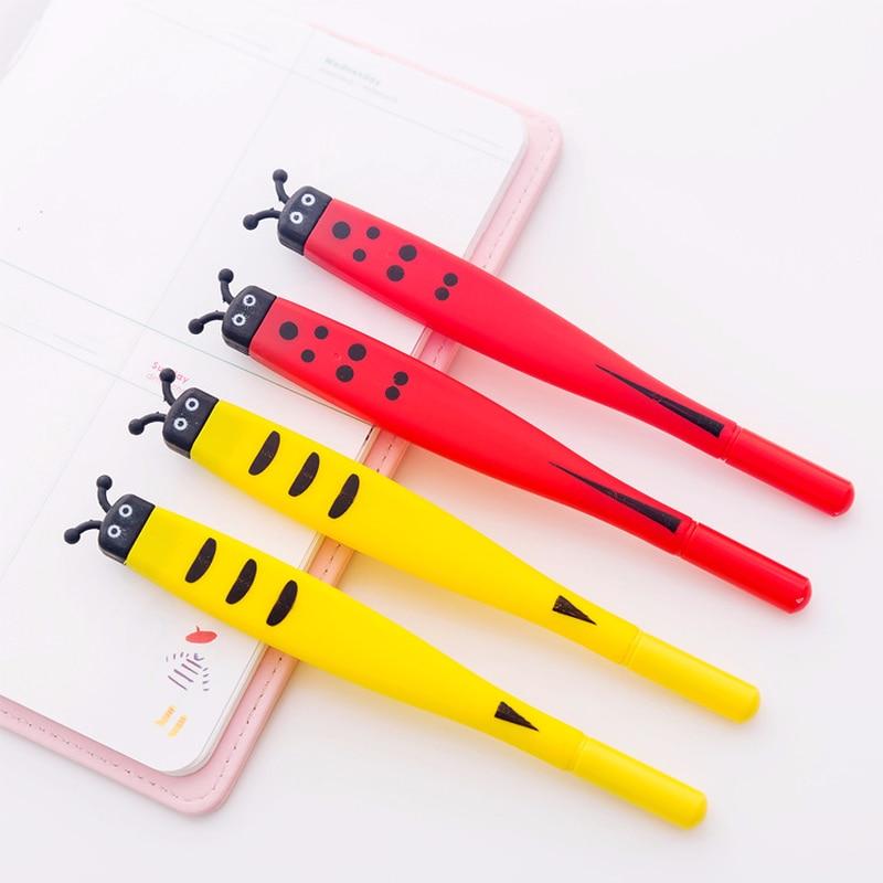 1Pc Creative Cute Flat Head Ladybug Gel Pen Cartoon Bee Chicken Soft Signature Pen Zakka Office Material Escolar School Supplies