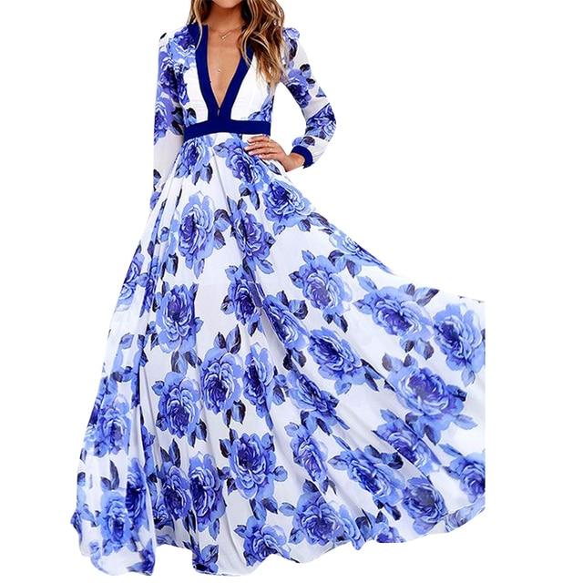 2017 nieuwe lente herfst runway print lange dress vrouwen lange mouwen vintage bloemen gedrukt maxi dress plus size s-xxl