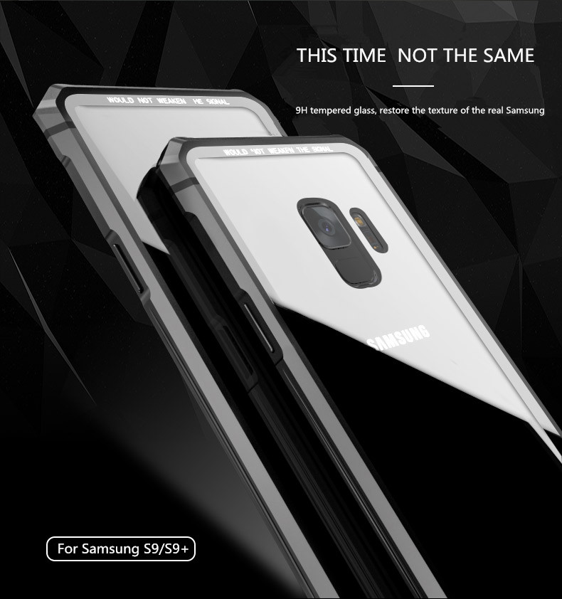 Samsung S9 Plus Shockproof case clear tempered glass back cover  diamond metal bumper (3)