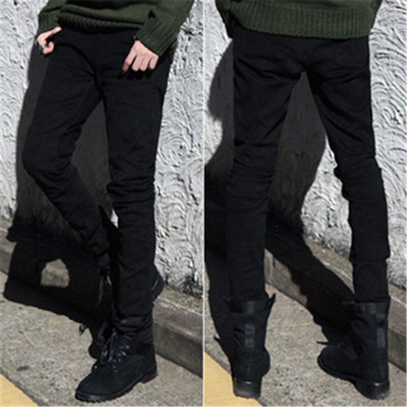 Pants Men 2017 new pure black pencil pants men cultivating pure color pants feet Slim Korean jeans men male pants